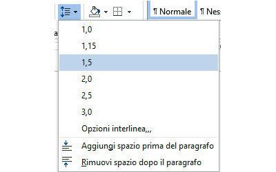 Modificare l'interlinea del testo
