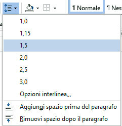 Interlinea del testo – Microsoft Word