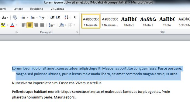 Selezionare testo in Microsoft Word