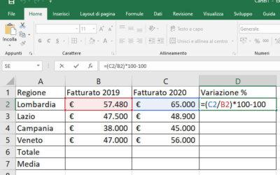 Creare una formula in Excel